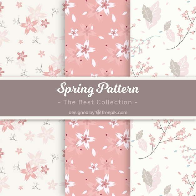 White and pink spring pattern collection Free Vector
