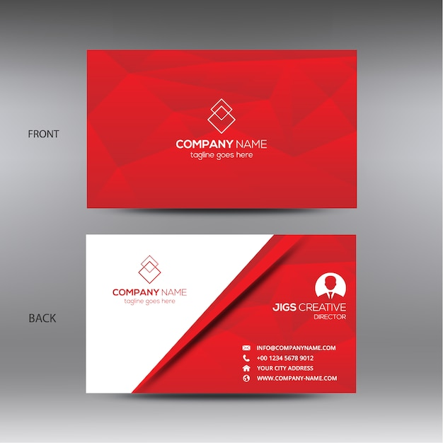 White And Red Business Card Free Vector
