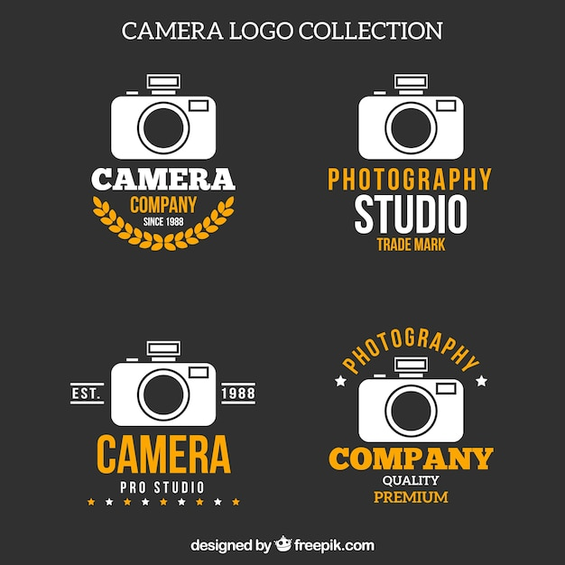 White and yellow camera logo collection