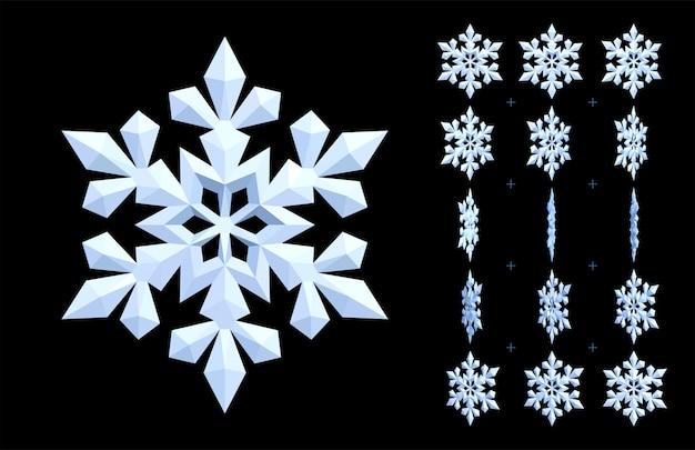 Белая анимированная снежинка. вращающийся значок 3d зимы и охлаждения. Premium векторы