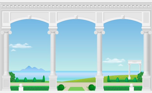 White arch of the palace Premium Vector