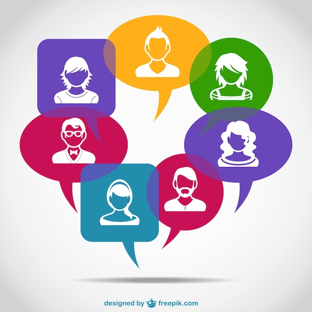 White avatars in colorful speech bubbles  Free Vector
