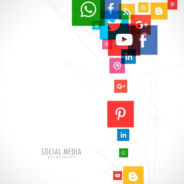 White background of colorful social media icons Free Vector