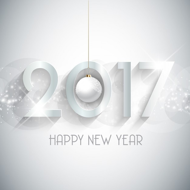 white background of happy new year 2017 with christmas ball free vector