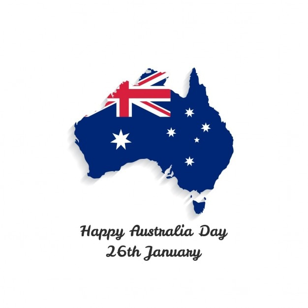 White background with a map for australia day Free Vector