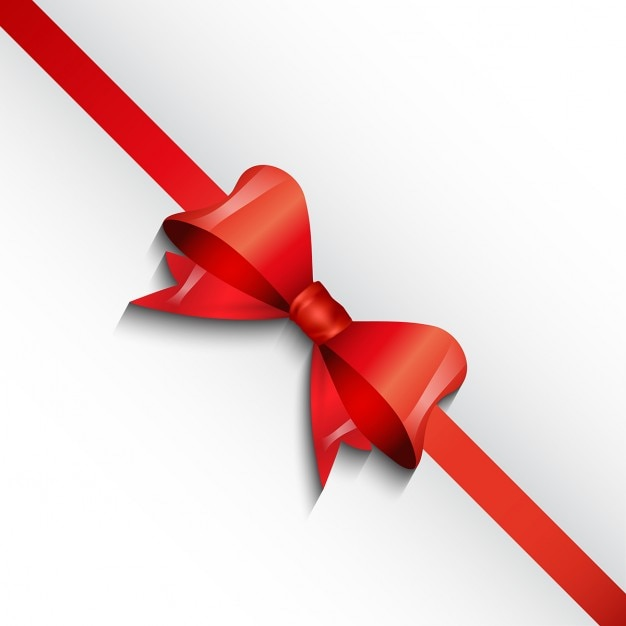 White background with a red bow Vector : Free Download