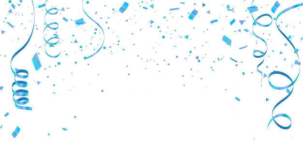 White background with blue confetti celebration carnival ribbons. Premium Vector
