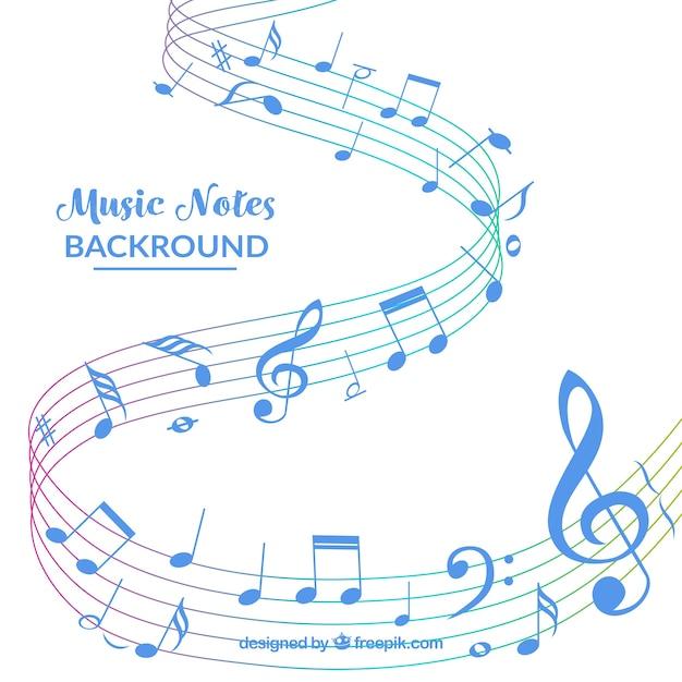 Sfondo bianco con note di musica blu Vettore gratuito