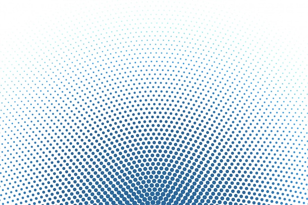 White background with blue round halftone background Free Vector
