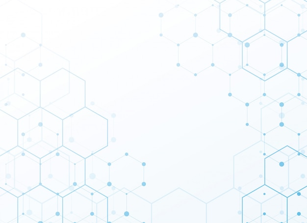 White background with blue tech hexagon Free Vector