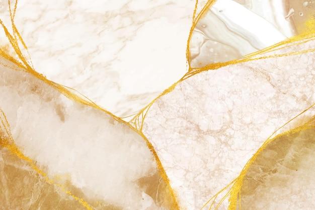 茶色と金色の要素を持つ白い背景 Premiumベクター