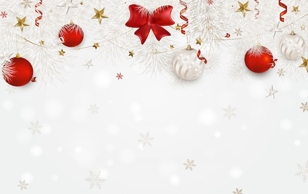 White background with christmas balls, red satin bow, white spruce branches, 3d stars, snowflakes, serpentine. Premium Vector