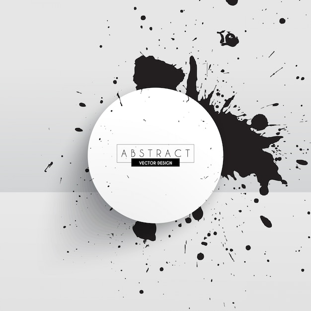 White background with a circle and black ink stains Free Vector