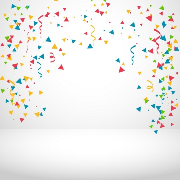 White background with colorful confetti Free Vector