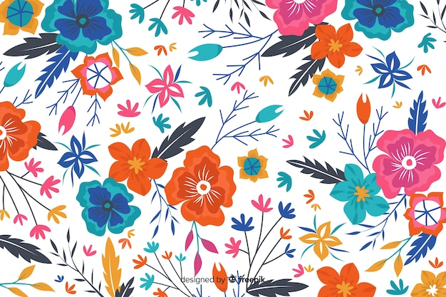 White background with colorful flowers Free Vector