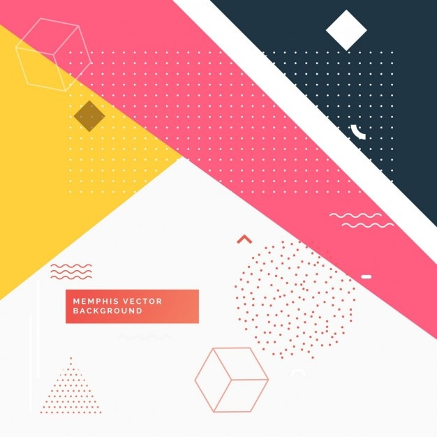 White background with colorful geometric shapes Free Vector