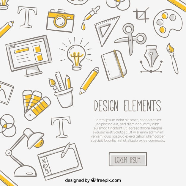 White background with design elements Premium Vector