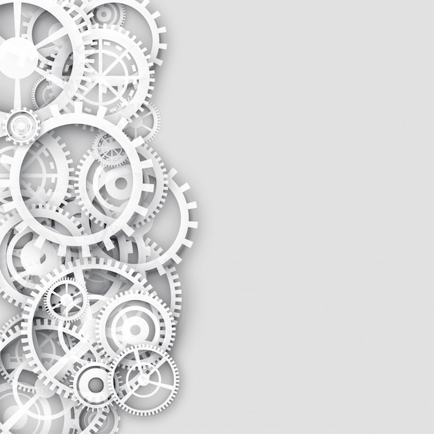 White background with gears and text space Free Vector