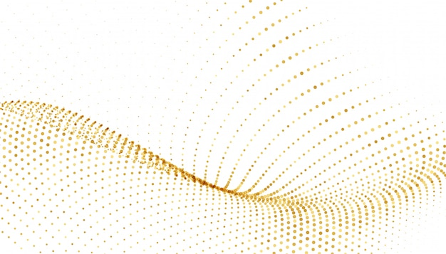 White background with golden sparkle wave Free Vector