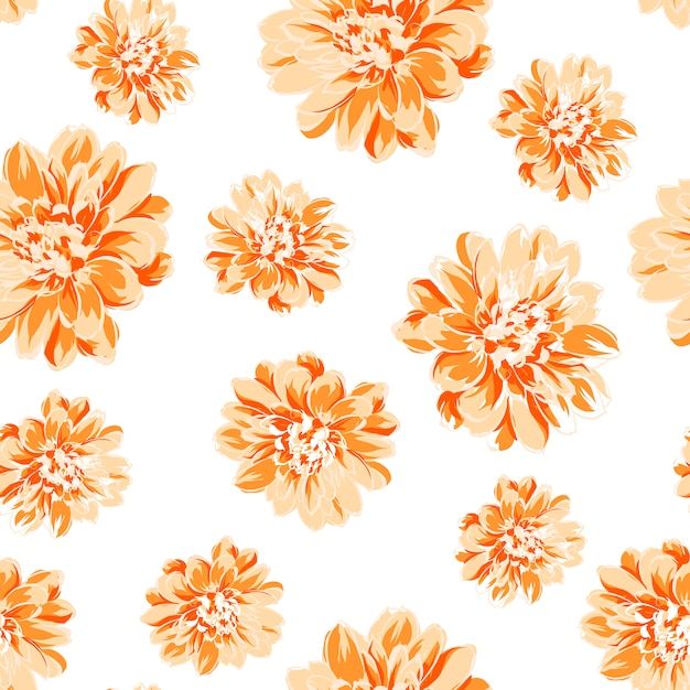 White Background With Orange Flowers Vector