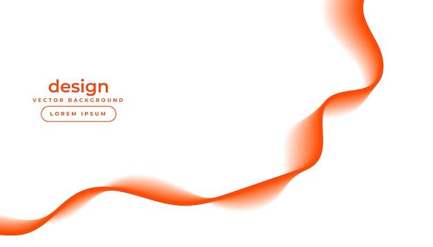 오렌지 흐르는 물결 선으로 흰색 배경 무료 벡터