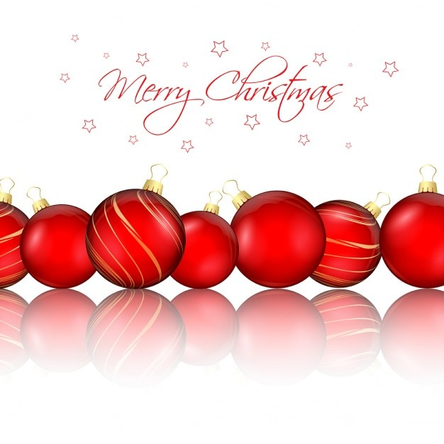 White background with red christmas balls Free Vector