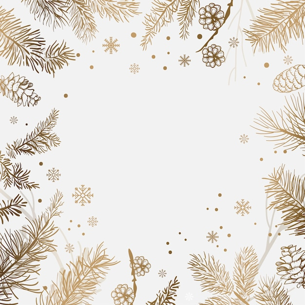 White background with winter decoration vector Free Vector