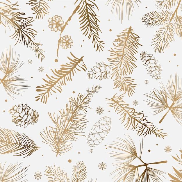 冬の装飾と白い背景 無料ベクター