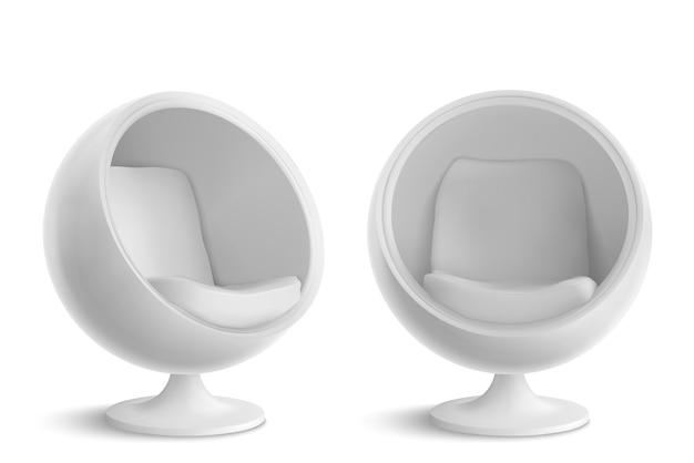 Sedia a sfera bianca, di fronte e di angolo. Vettore gratuito