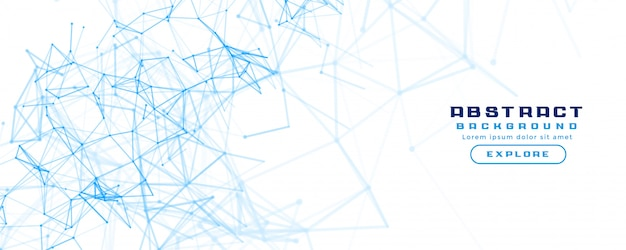 White banner background with abstract network mesh diagram Free Vector