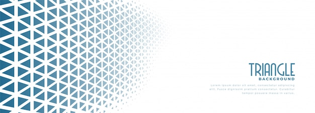 White banner with blue triangle halftone pattern design Free Vector