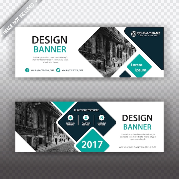 White banner with geometric details Free Vector