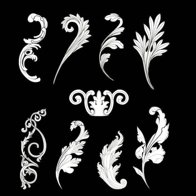 White baroque elements vector set Free Vector