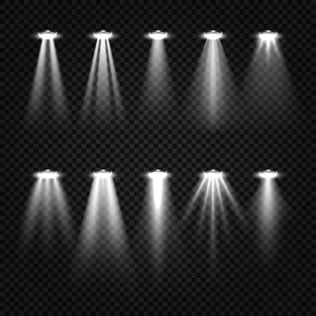 흰색 광선 및 스포트라이트 세트 무료 벡터