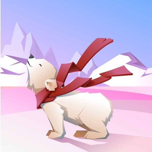 White bear in a red scarf. Premium Vector