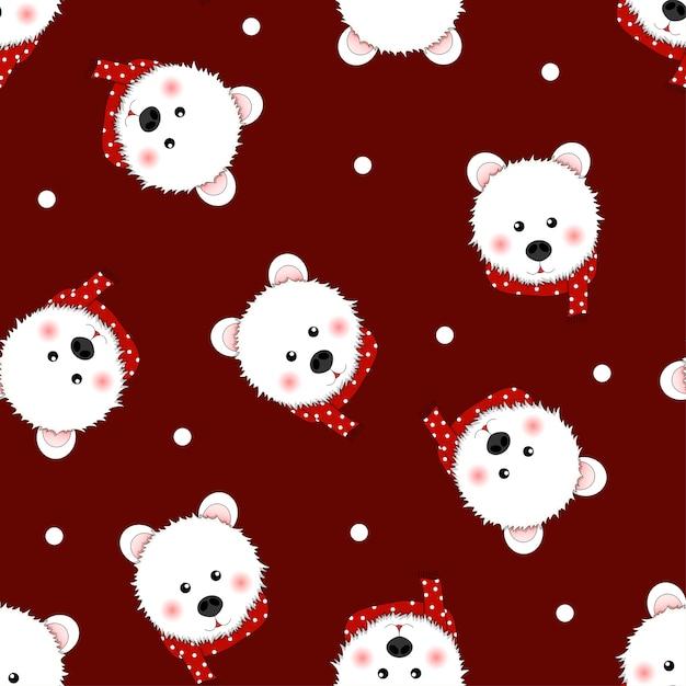 赤い背景に赤いスカーフポルカドットの白いクマ。 Premiumベクター