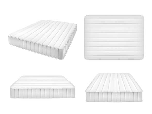 White bed mattresses set, vector realistic illustration Premium Vector