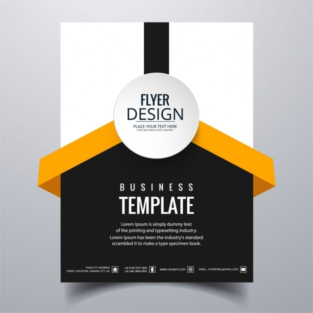 White Black And Orange Geometric Brochure Vector Free Download - Black and white flyer template free
