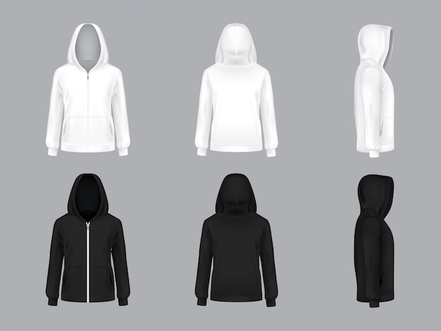 White and black hoodie with long sleeves and pockets, front, back, side view, Free Vector