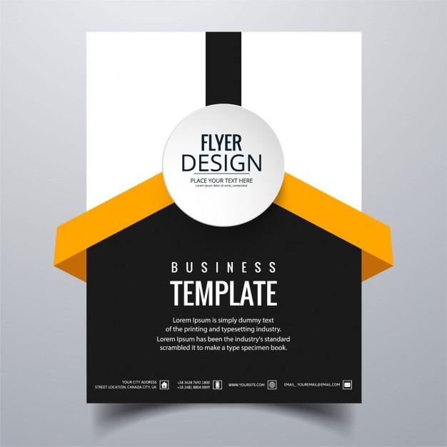 white  black and orange geometric brochure vector
