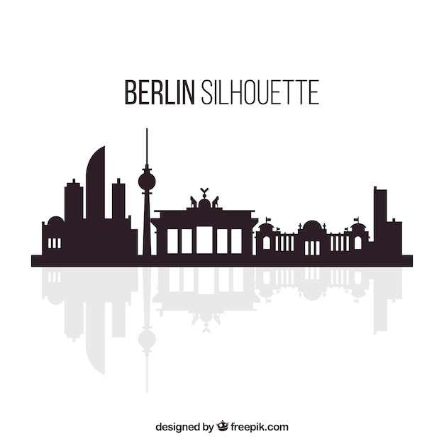 White and black skyline of berlin Free Vector