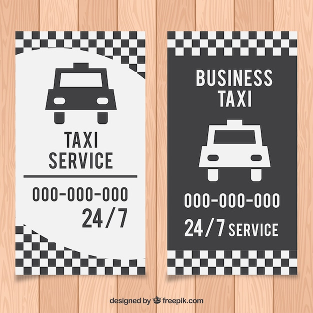 White and black taxi driver card Free Vector