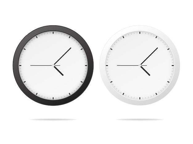 White and black wall office clock Premium Vector