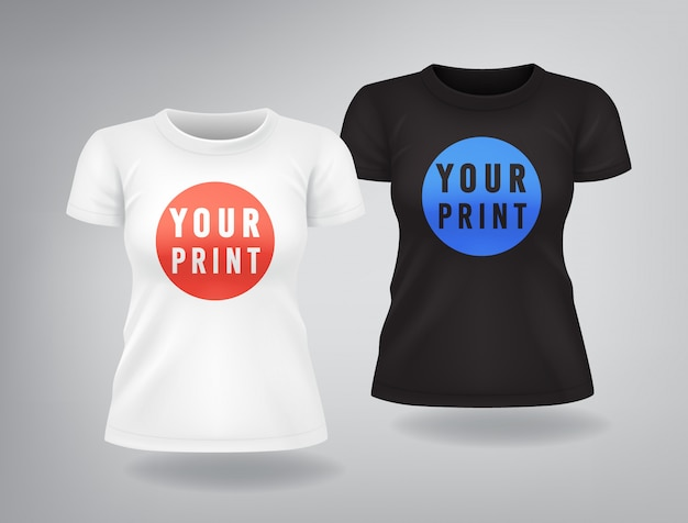 White and black woman t-shirts with short sleeves mock up, place for print Premium Vector