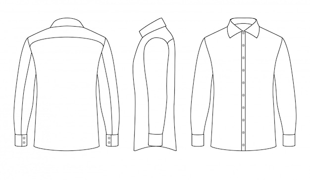 White blank business mans shirt with long sleeves and buttons in front, side, back views. Premium Vector