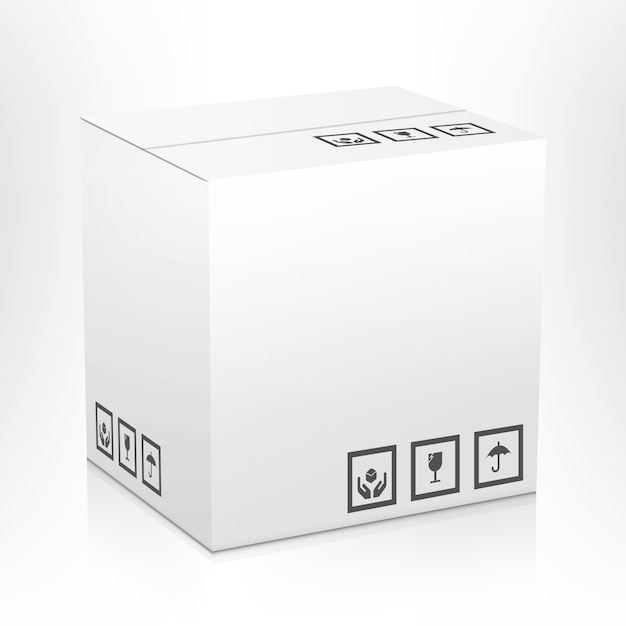 White blank closed carton delivery parcel packing box with fragile signs isolated Free Vector