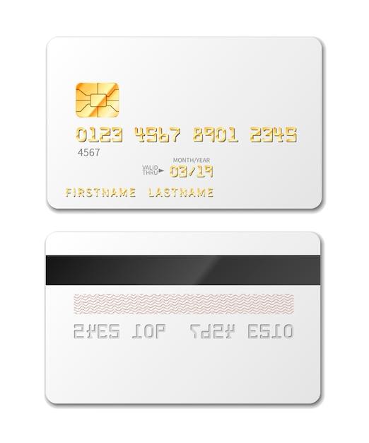 Белая пустая кредитная карта макет на белом Premium векторы