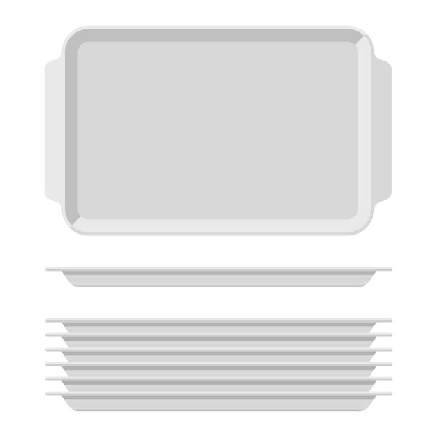 Белый пустой поднос для еды с ручками. прямоугольные кухонные подносы, изолированные на белом фоне. пластиковый лоток для иллюстрации столовой, прямоугольная стопка тарелок, вид сверху. Premium векторы