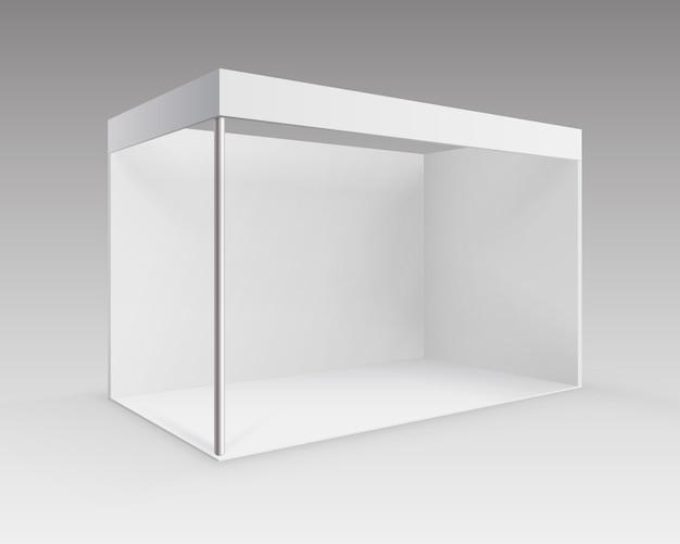 背景に分離された視点でのプレゼンテーションのための白い空白の屋内貿易展示会ブース標準スタンド Premiumベクター