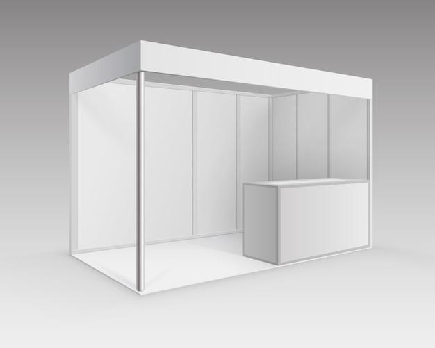 背景の視点で分離されたカウンターでプレゼンテーション用の白い空白の屋内展示会ブース標準スタンド Premiumベクター